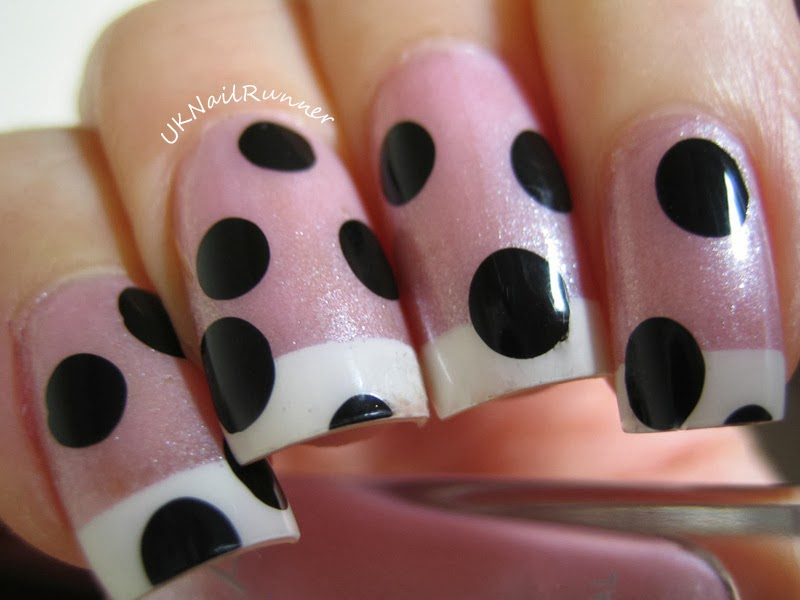 UKNailRunner: Funky French Manicure - with black polka dots!