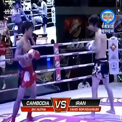 [ Sports ] ▶ Em Vutha Vs Vahio Sor Keawsuek (Iran) 27-Dec-2013 - Boxing, Khmer Boxing, Sports