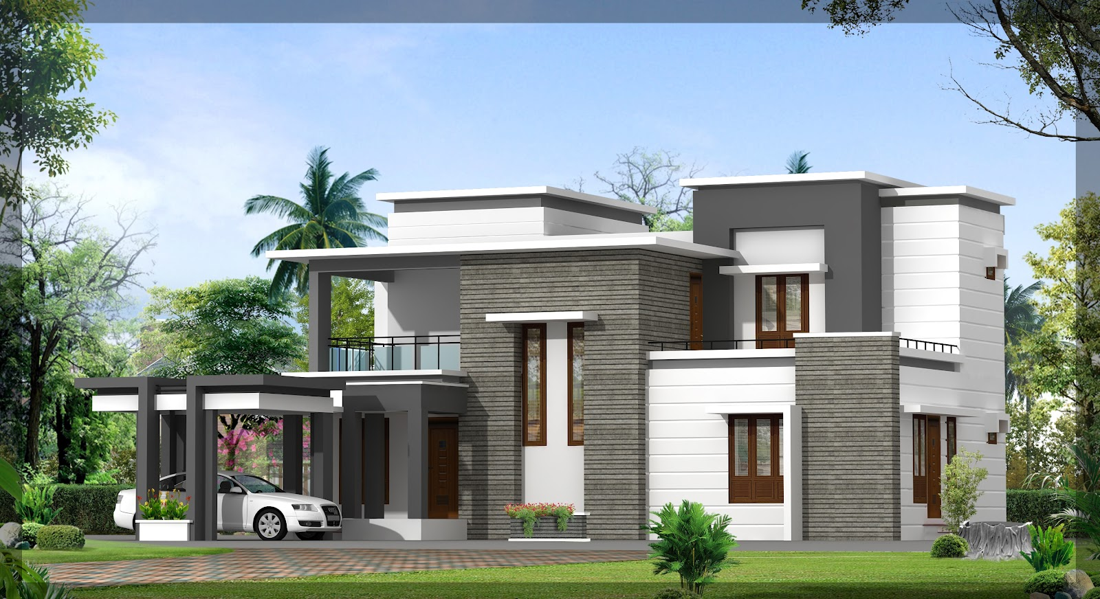 Design modern house with a large yard home inspiration for Large modern house plans