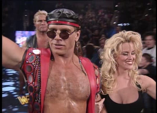 WWF / WWE: Wrestlemania 11 - Shawn Michaels was accompanied to the ring for his WWF title match by Sid and MTV's Jenny McCartney