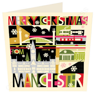 City Scape Manchester Christmas Card  by Wotmalike
