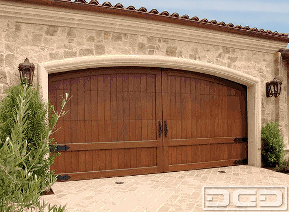 Wood Garage Doors in a Mediterranean Style