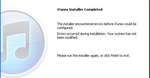 The installer encountered errors before itunes could be configured