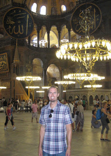 Among the hanging light of the Haghia Sophia.