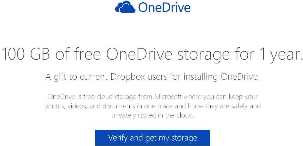 Ottenere 100 GB gratis 1 anno su OneDrive