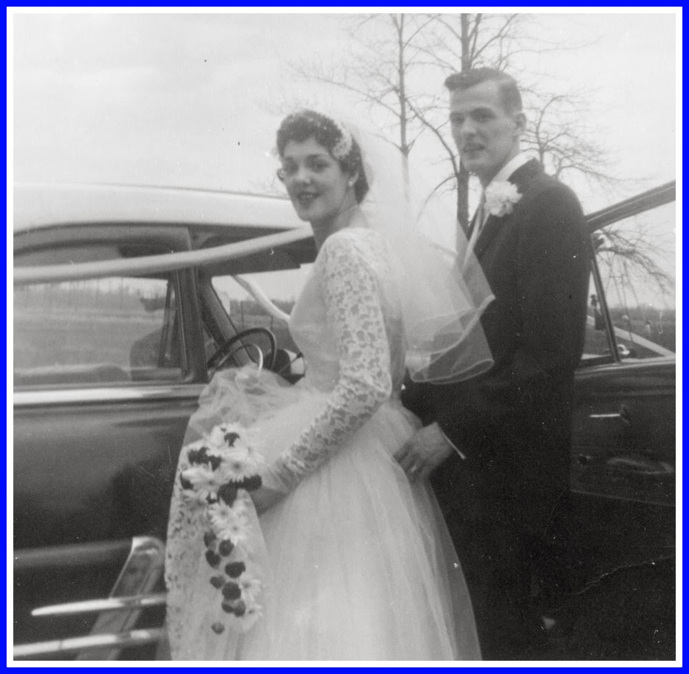 Normande and Howard Handy on their wedding day in 1957
