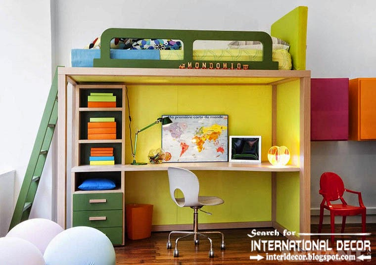 create creative study space for kids room, study space under the bed