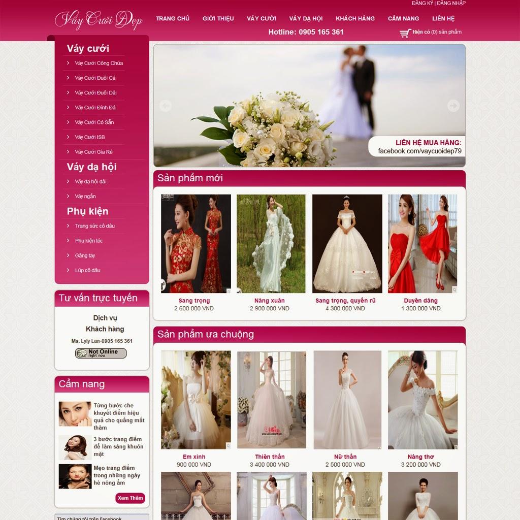 thiết kế web bán hàng váy cưới đẹp