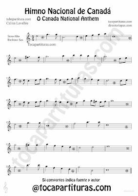 Tubepartitura Himno Nacional de Canadá partitura para Saxofón Alto y Barítono Himnos nacionales del mundo
