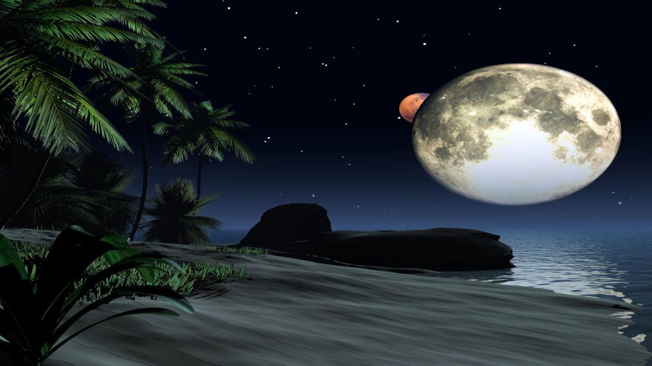 Foto Frontera: Imágen fantástica con la luna sobre el mar