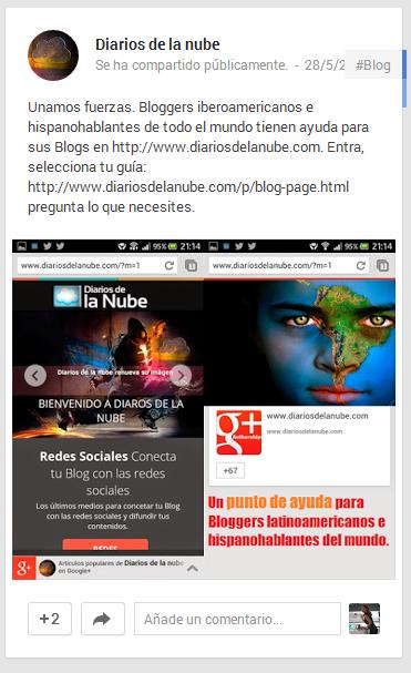 ejemplo publicación Google+