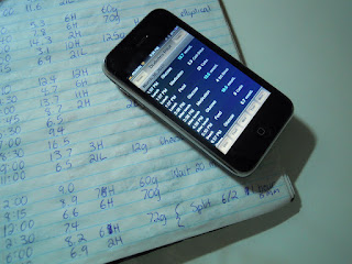 A paper logbook and iPhone diabetes management app