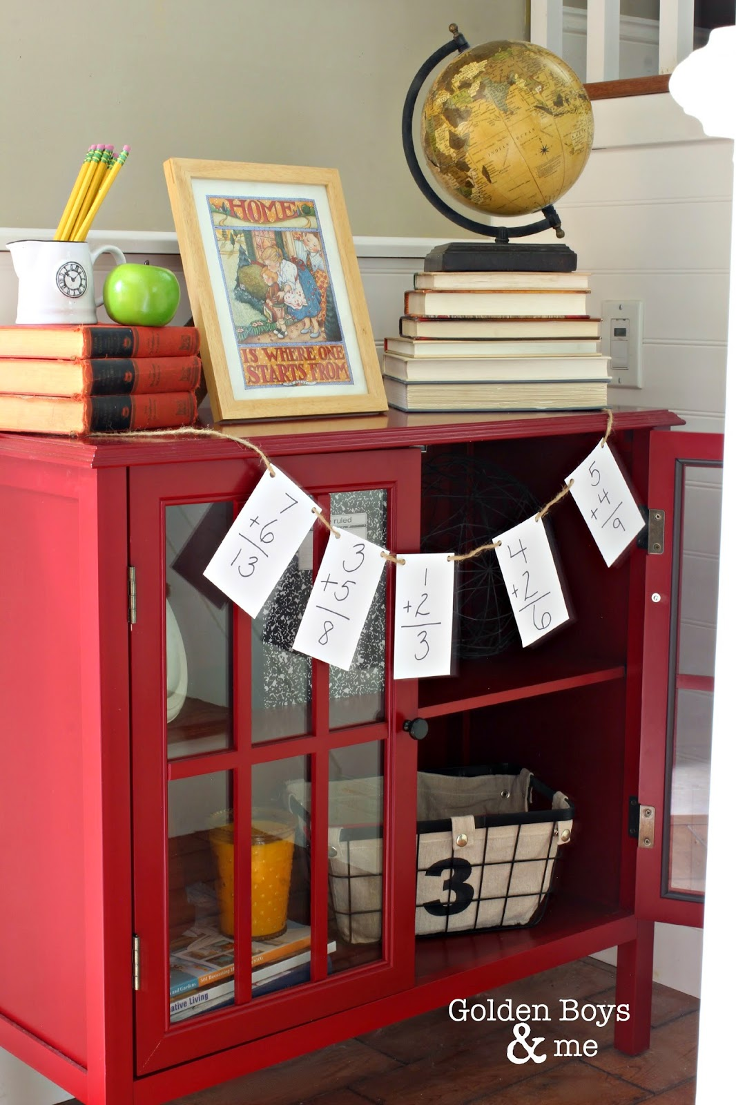 Back to School decor with Target Threshold red bookcase