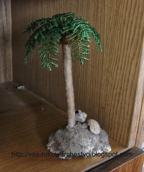Пальма из бисера. .  Схема плетения ящерицы. вязать спицами малышу шапочку мишка.