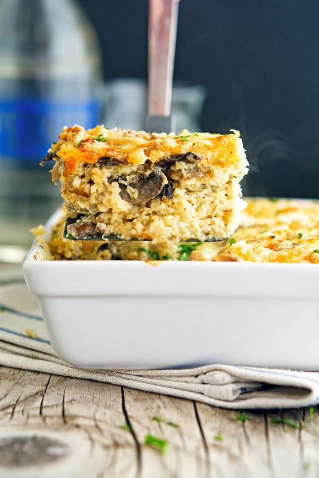 Cheesy Mushroom Quinoa Casserole