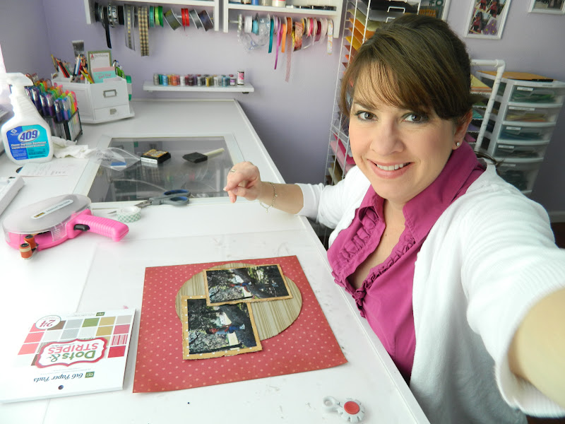 Here I am in my scrapbooking room, working on a layout. =)