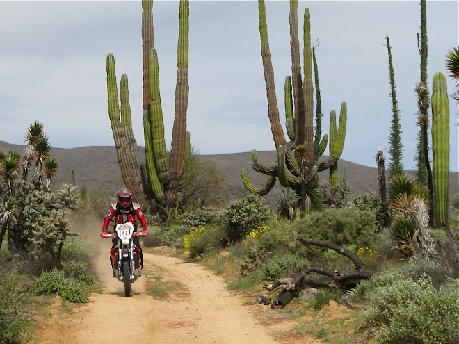 John piloting his rallye Aprilia through central Baja