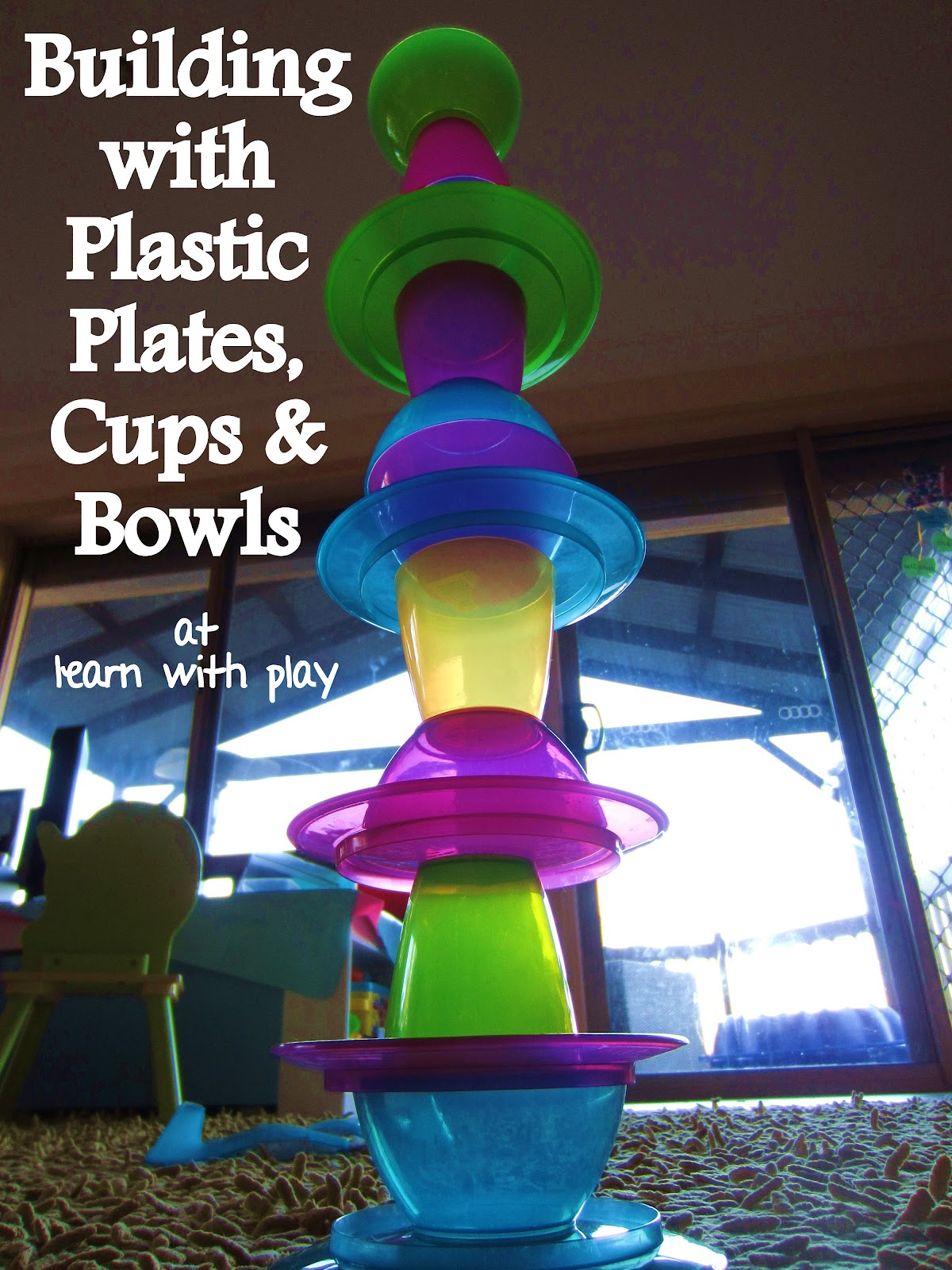 activity for kids building game & Learn with Play at Home: Building with Plastic Plates Cups and Bowls