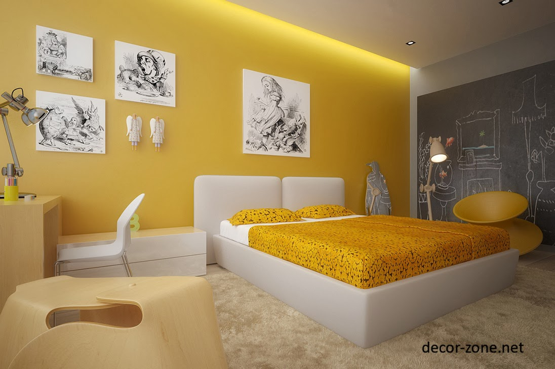Modern bedroom designs in a yellow color for Bedroom designs and colors