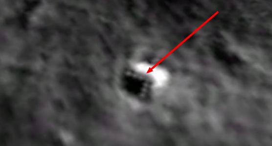 Resim Google MOON/Ay ile görülebilen, Ay'ın arka yüzündeki doğal olmayan cisim.