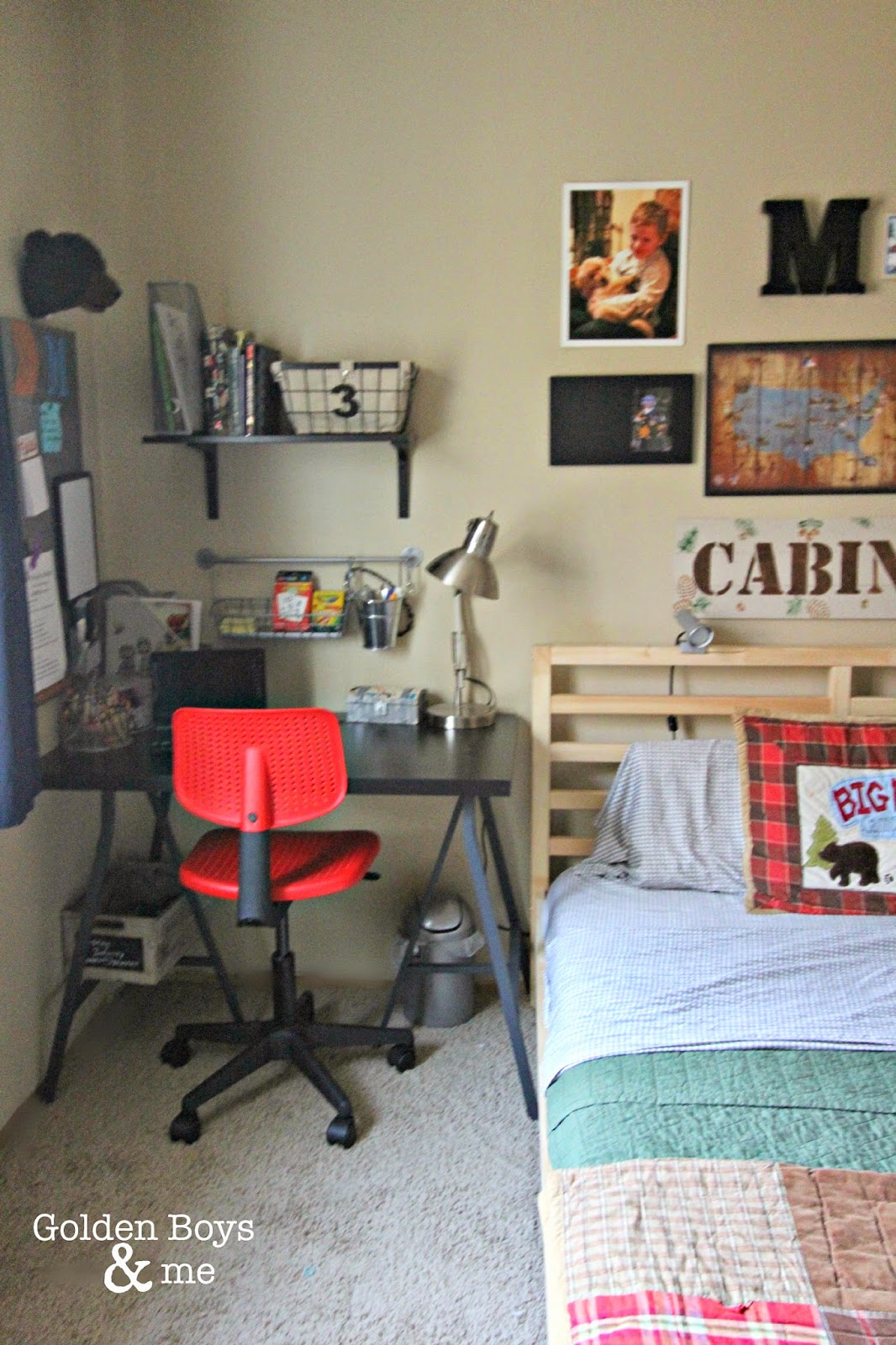 Ikea desk and chair in boy's bedroom-www.goldenboysandme.com
