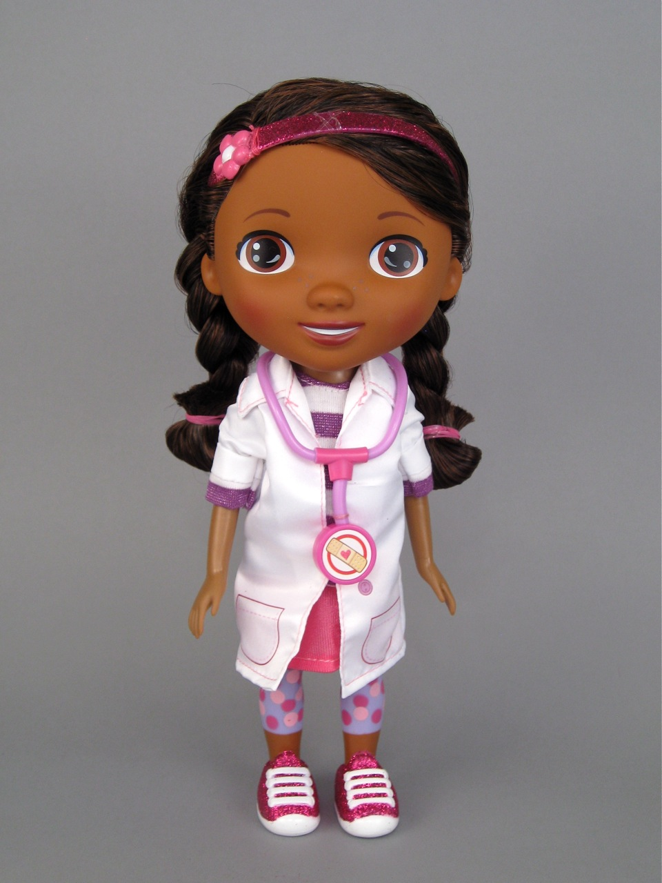 Unlike the cartoon version of Doc, this doll has her hair in two long ...