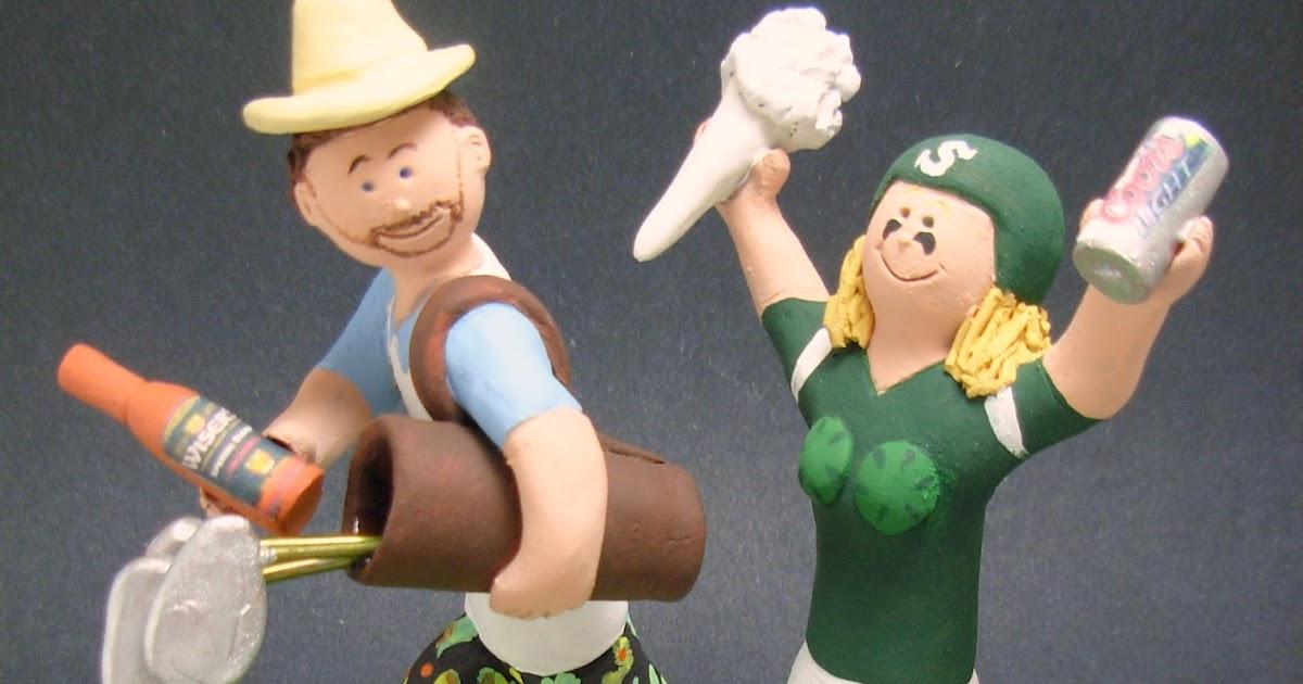 custom wedding cake toppers: Golfer Groom Marries Cheerleader Bride - Wedding Cake Topper