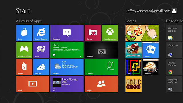 Windows 8 start screen preview