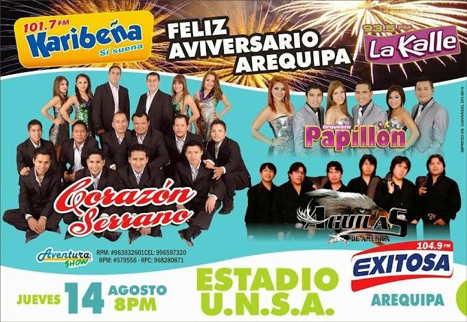Corazon serrano, Papillon y Aguilas de América - Serenata Arequipa - 14 de agosto