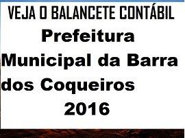 ACOMPANHE O BALANCETE CONTÁBIL DE 2016