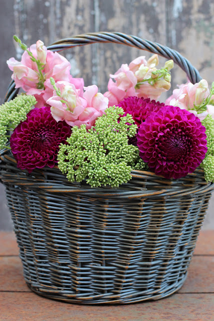Dahlia, Sedum and Snapdragons in a basket