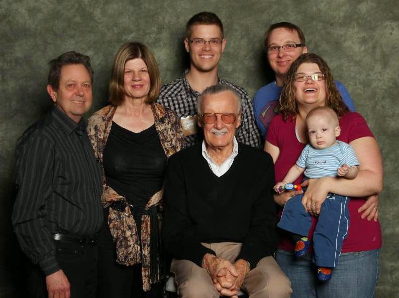 My family and I meeting Stan Lee, the creator of Marvel Comics