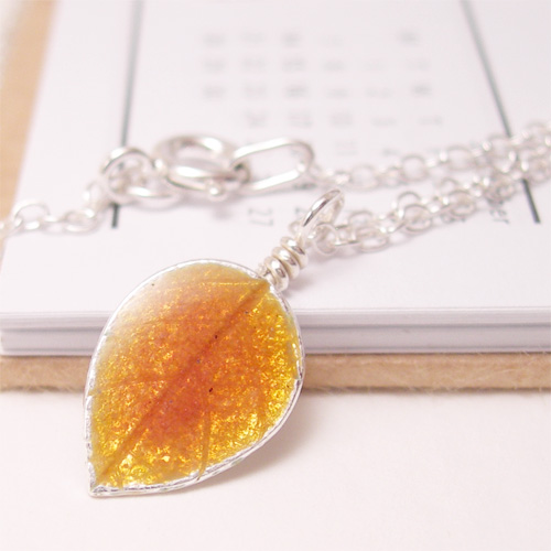 Autumn Gold Leaf Pendant: Enamelled Recycled Silver
