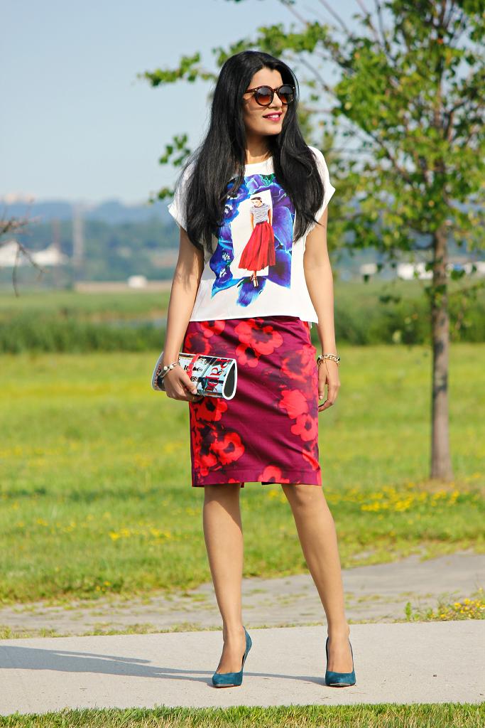 Zara Printed T Shirt, Floral Printed Skirt, Magazine Print Clutch
