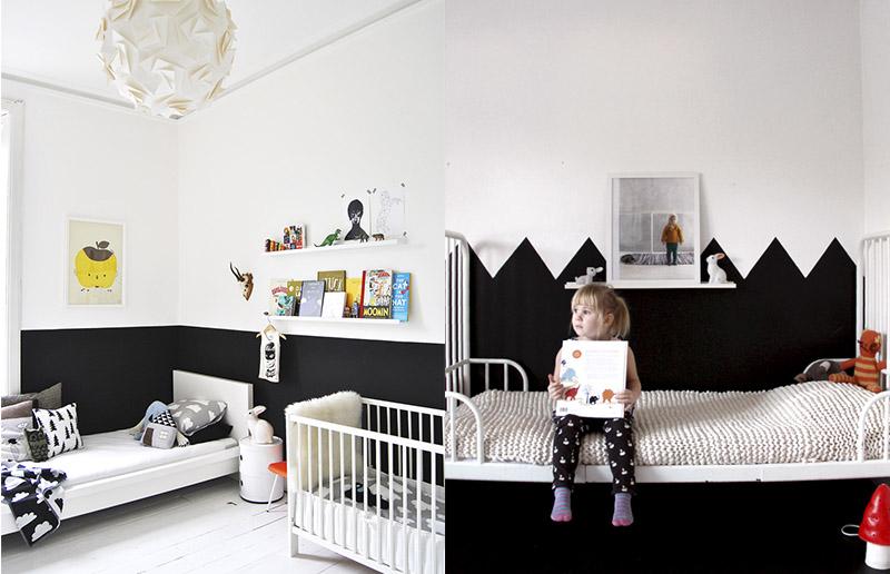 Quarto de crian a nas cores preto e branco a gente te for Sala de estar infantil