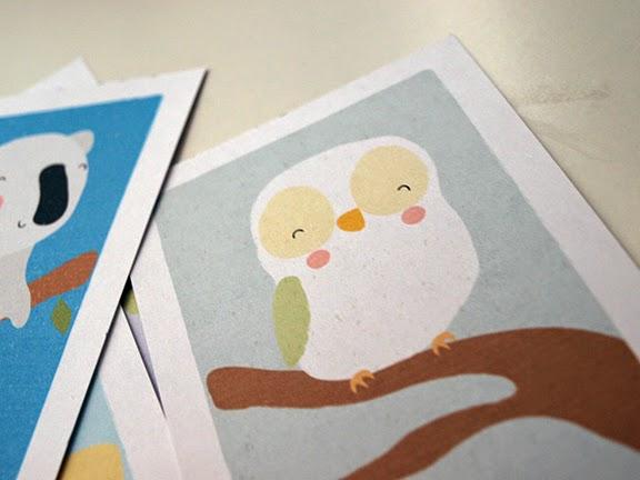 postales para niños con animalitos: detalle dibu búho