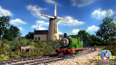 Little locomotive Percy the green engine oil painting artist at Toby the tram engine windmill house