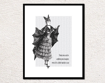 vintage illustration of a woman dressed like a bat framed