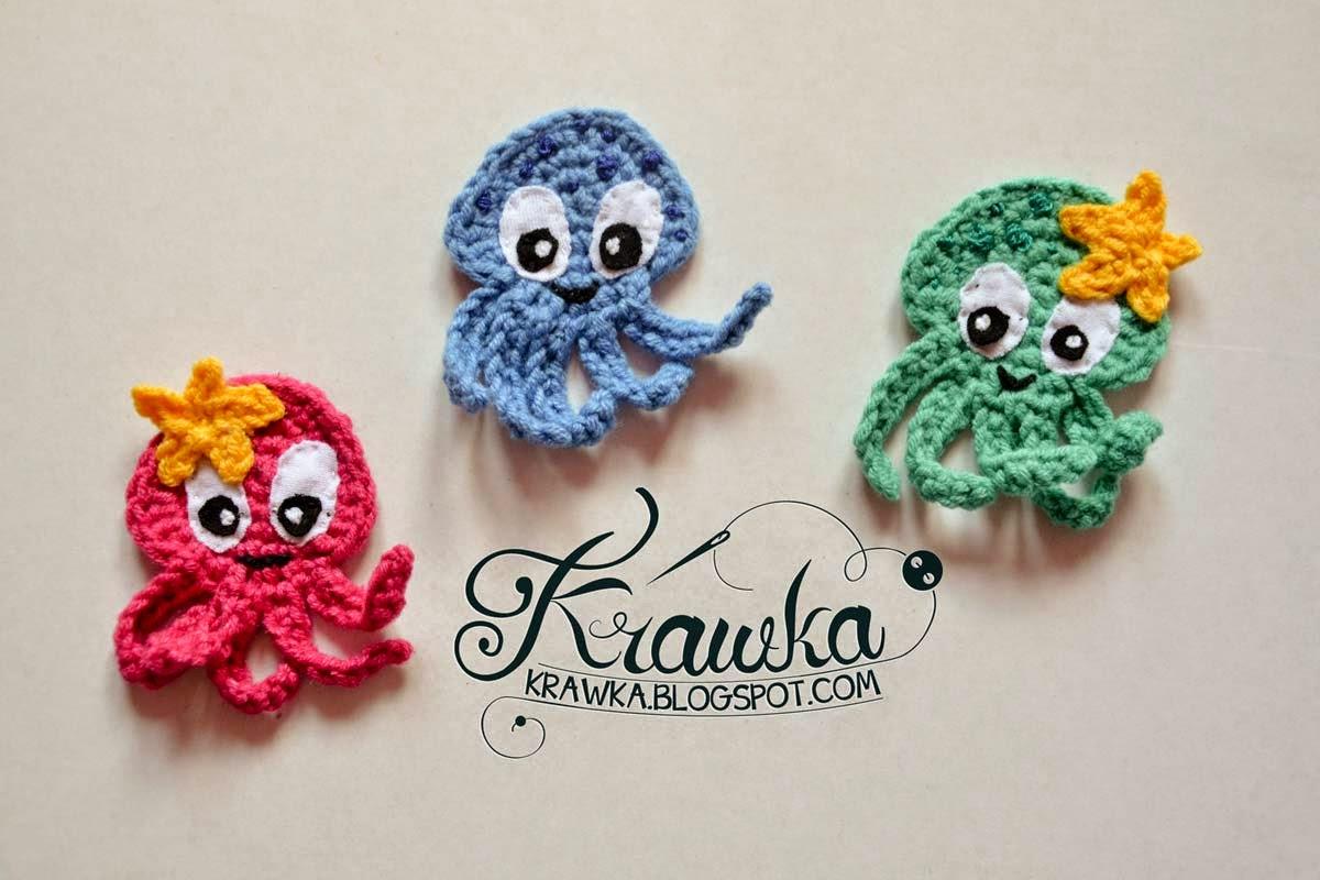 Aplikacja, naszywka szydełkowa - ośmiornica z gwiazdką. Crochet amigurumi aplique octopus cute blue octopus, pink octopus with star