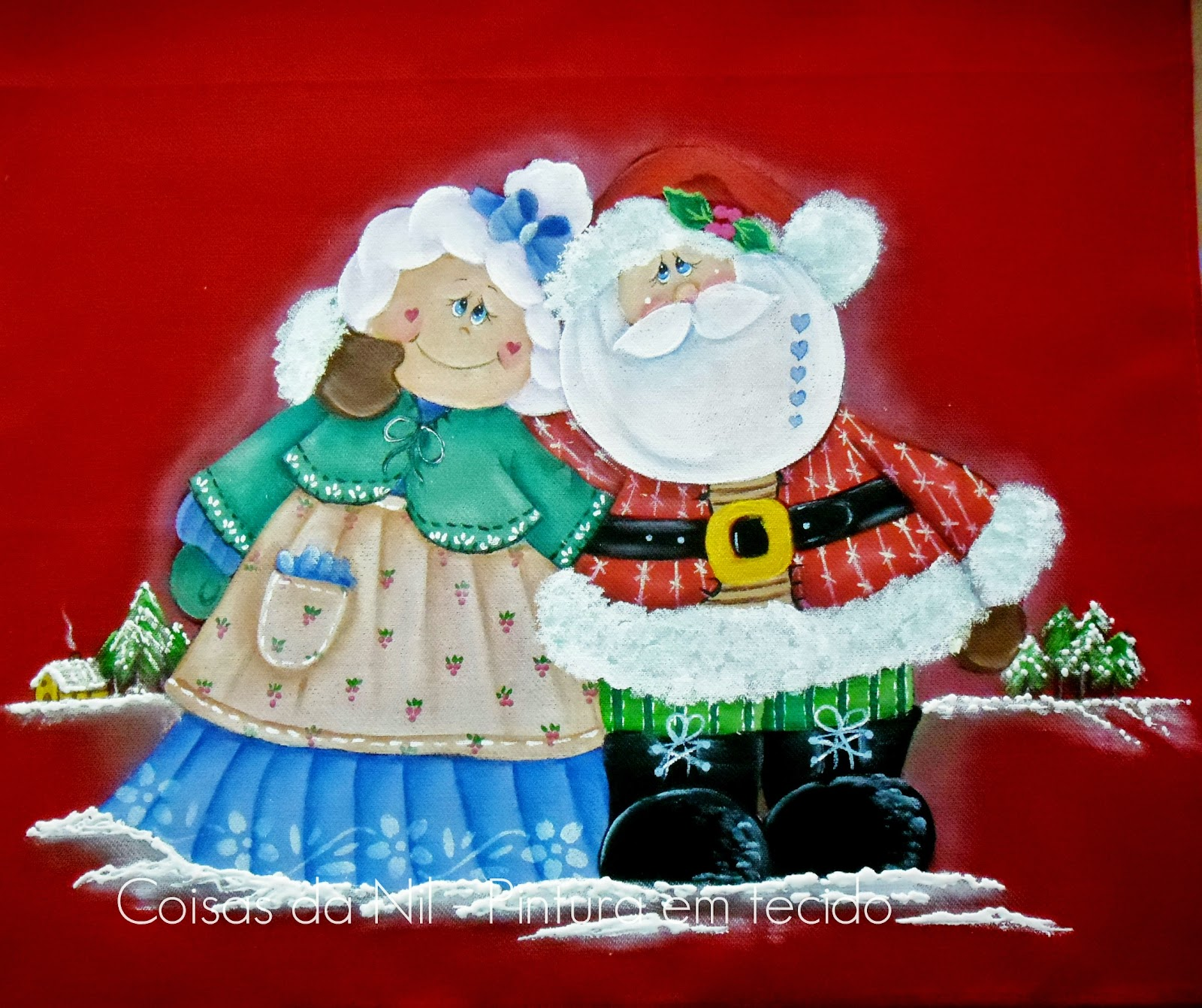 pintura em  tecido papai e mamae noel