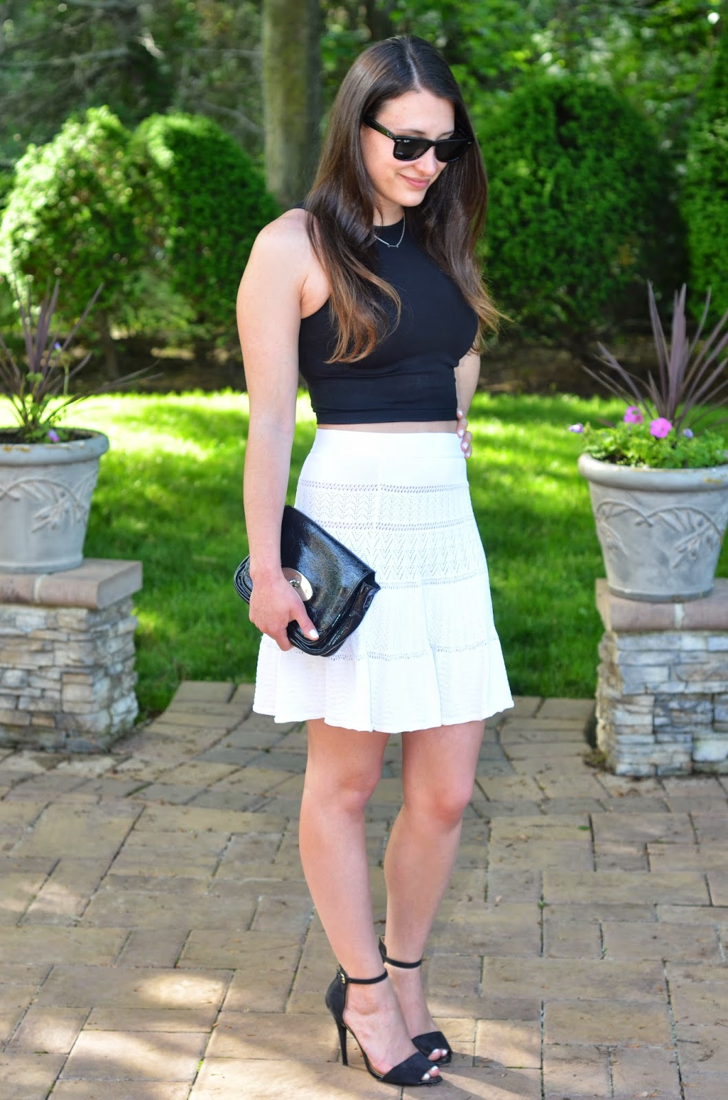 crop top + white skirt