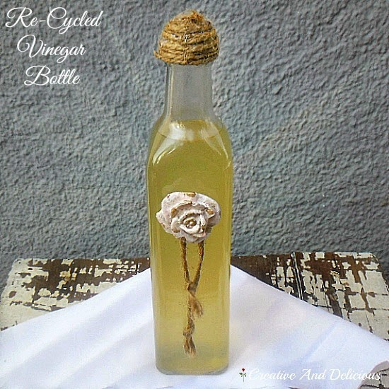 Re-Cycled Vinegar Bottle ~ pretty and ready to use for whatever you like! #ReCyledCrafts #BottleCrafts