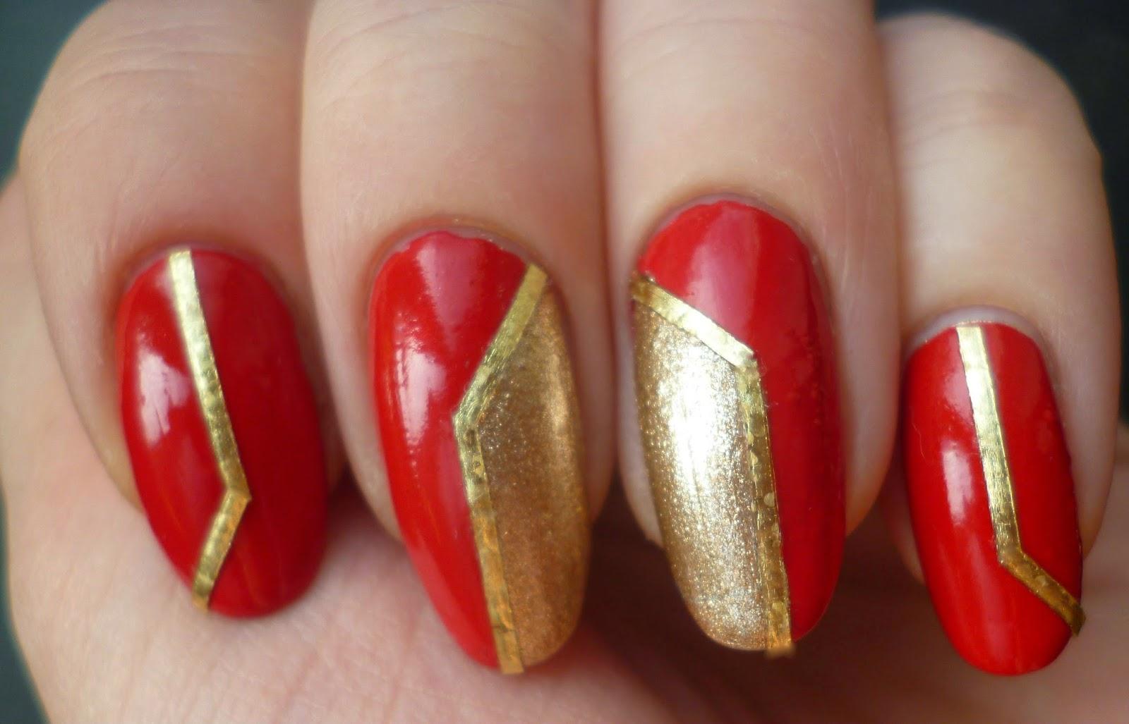 Дизайн ногтей 2017 красный с золотом