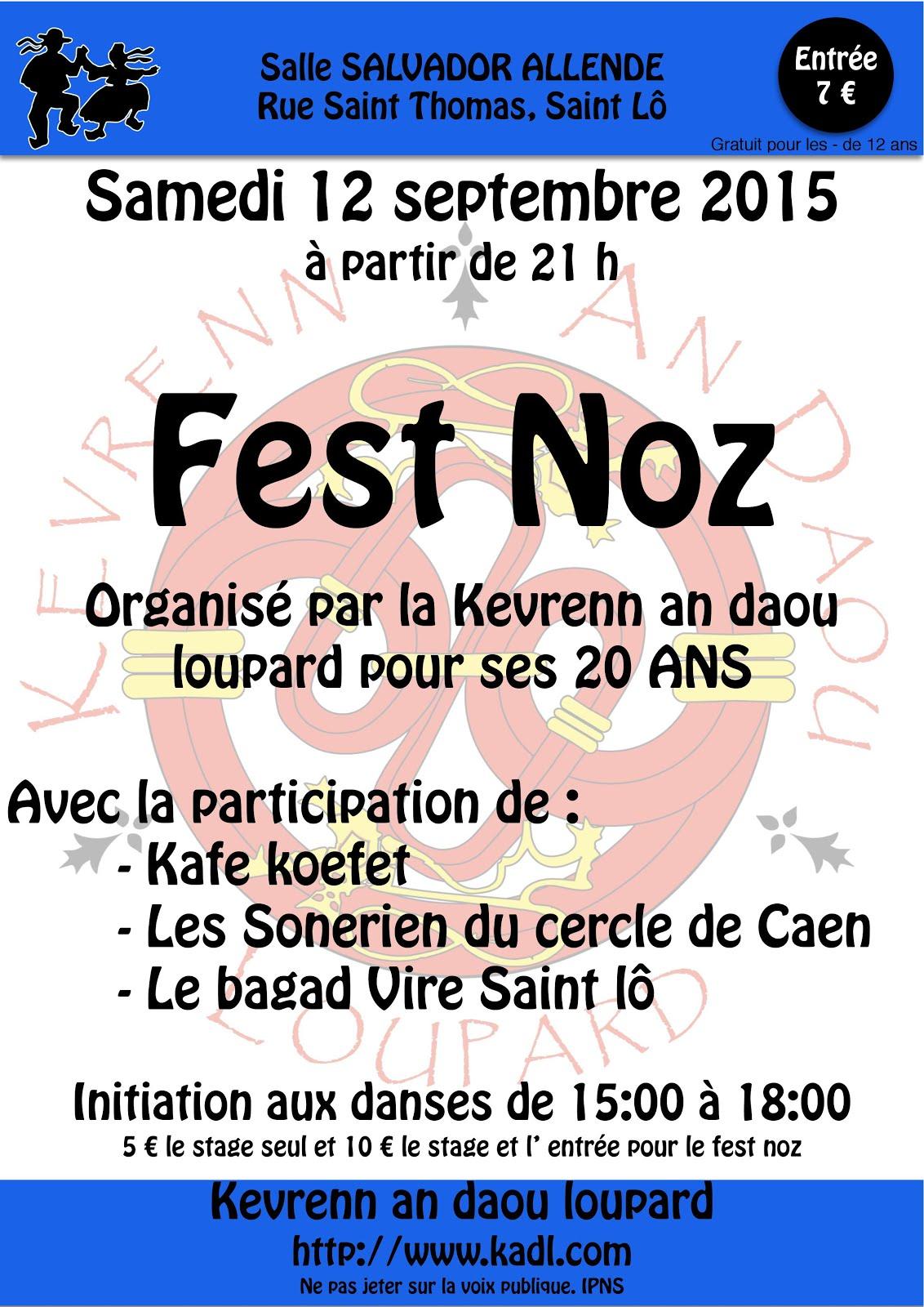 Affiche Fest-noz 20 ans de la Kevrenn an Daou Loupard (bagad de Vire - Saint-Lô) à Saint-Lô