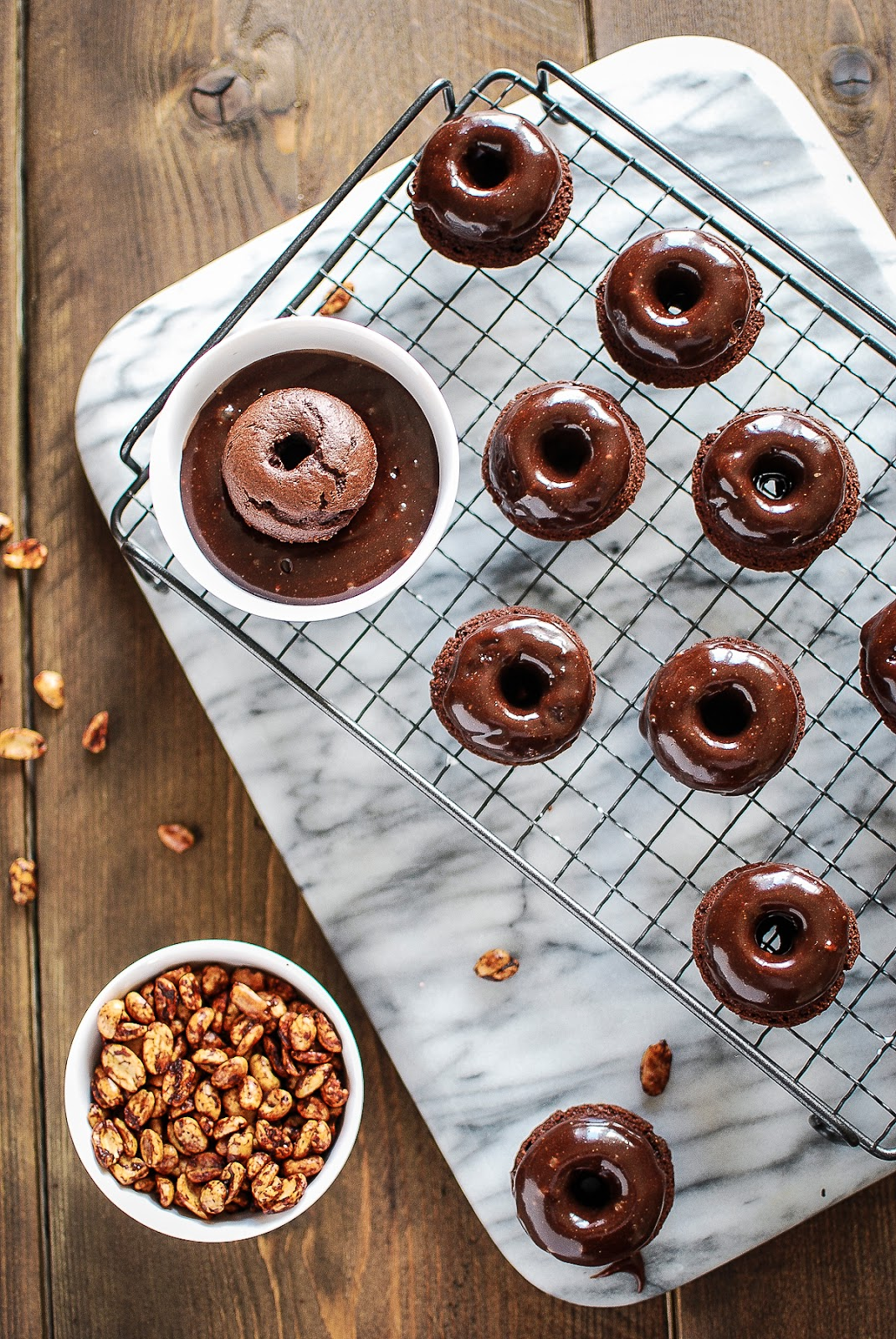 Peanut butter doughnuts with a hot sauce glaze. Hawt Damn!