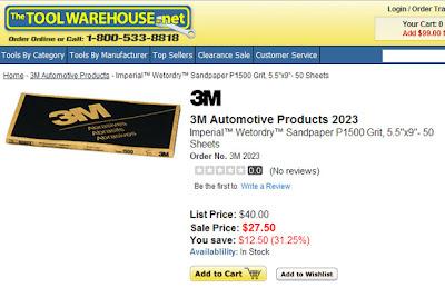 3M P1500 autmotive sandpaper