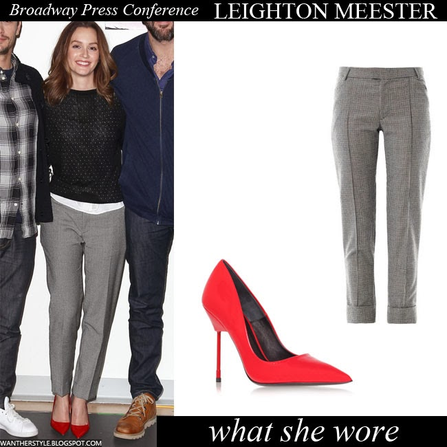Leighton Meester in grey houndstooth pants with red pumps by Kurt Geiger