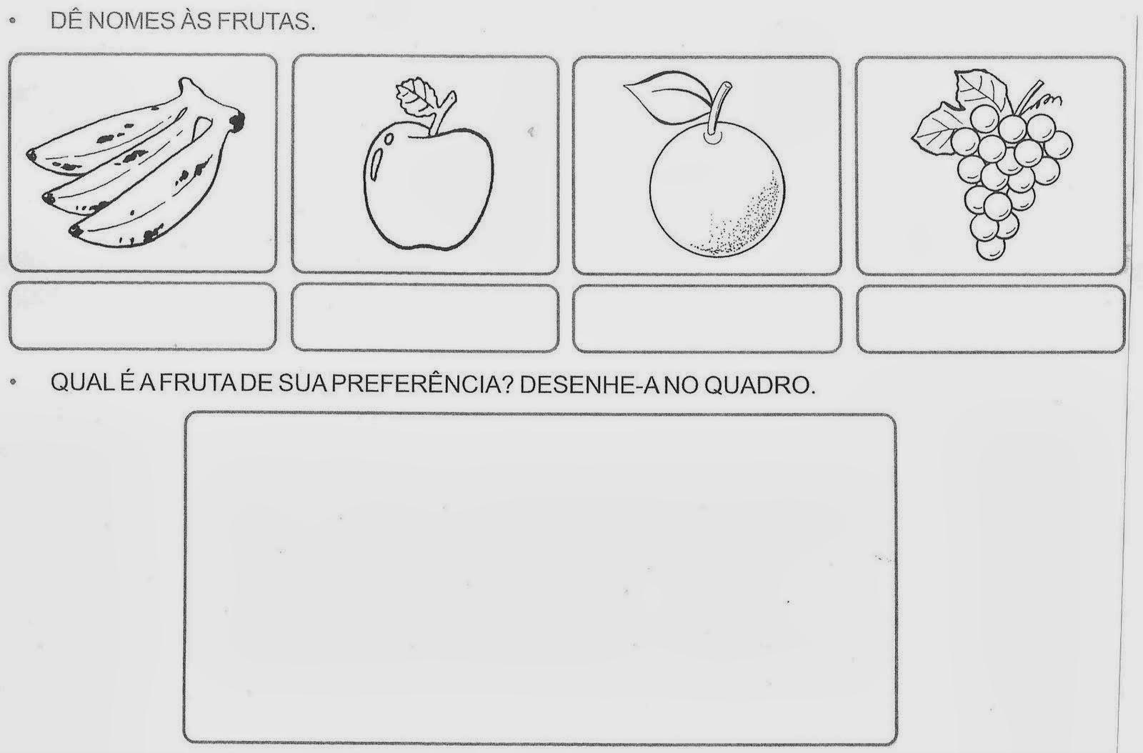 Atividades para Crianças - Dê nomes as frutas