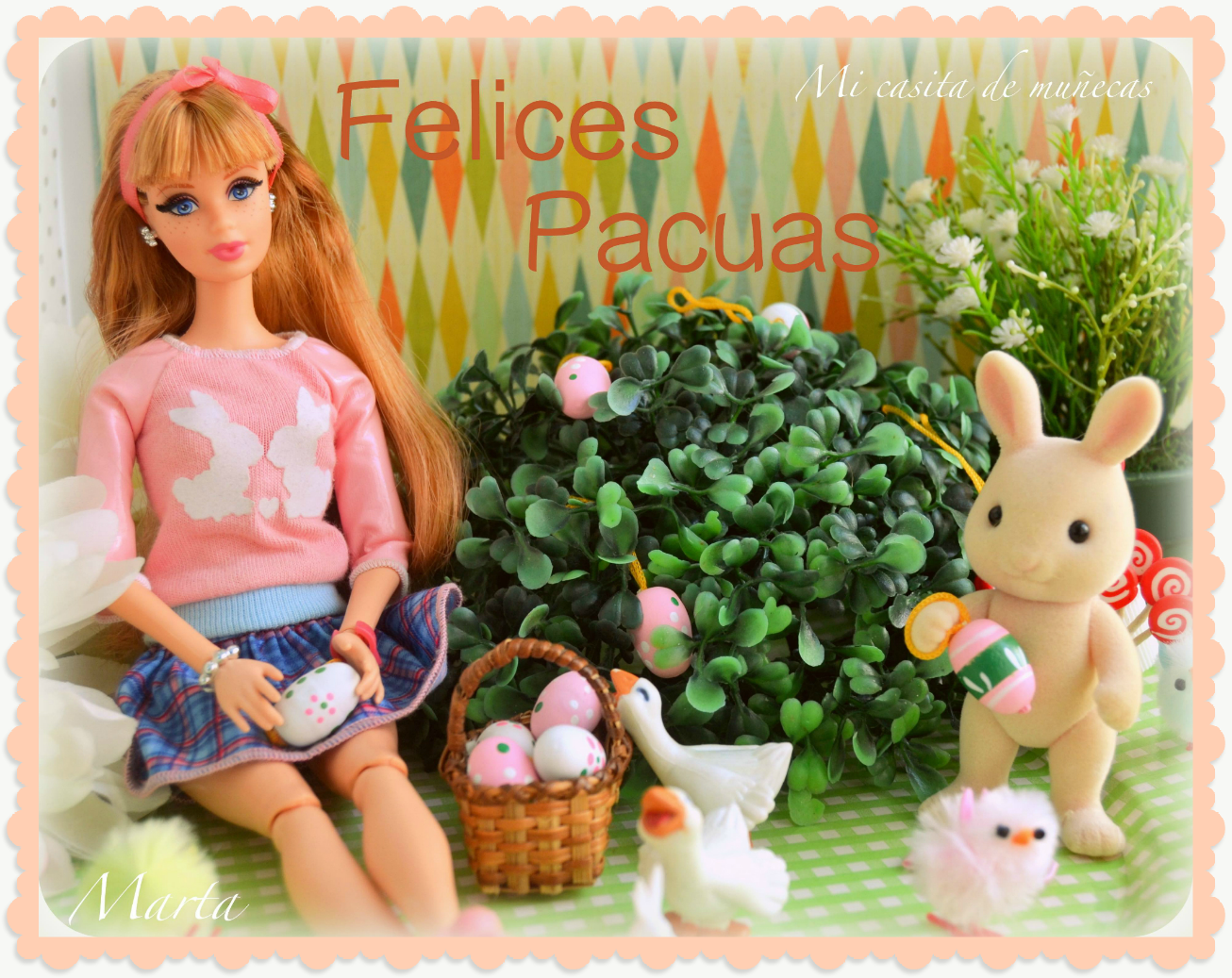 Felices Pascuas. Happy Easter. Barbie Midge Style.