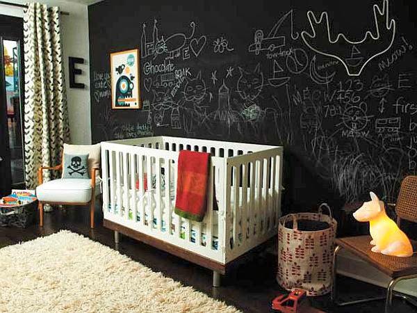pintura de pizarra en habitacion infantil vintage